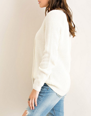 all tied up lace-up front sweater - natural - shophearts - 5