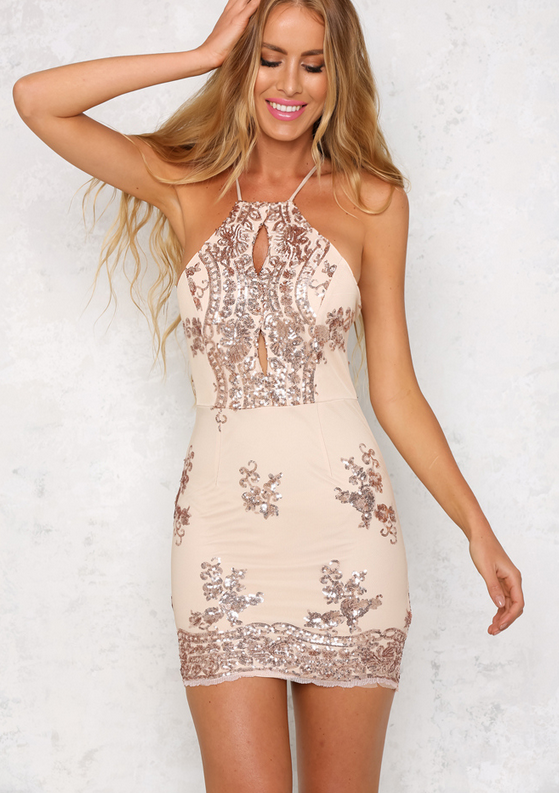 58298aedf9d7 life of the party rose gold sequin bodycon dress - shophearts - 5