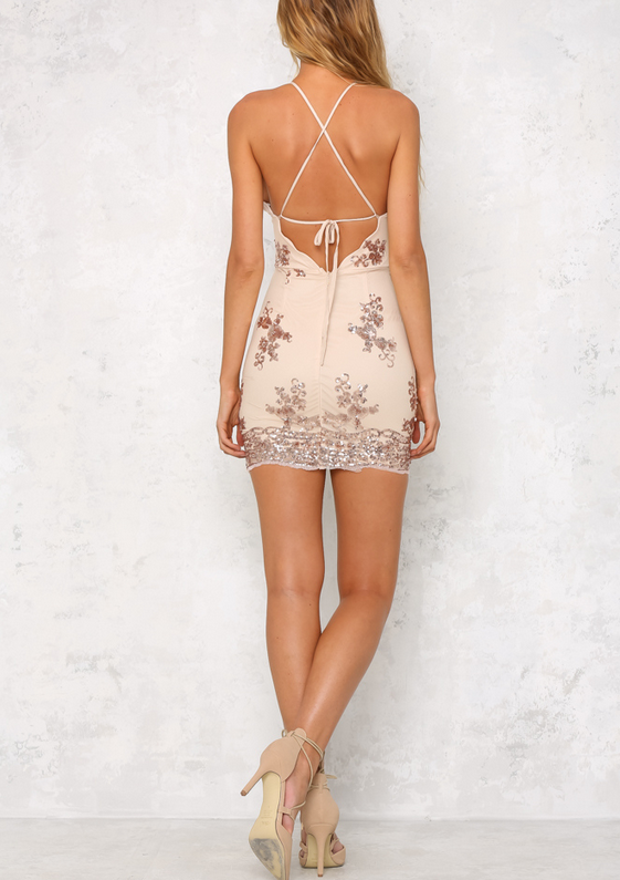 Life Of The Party Rose Gold Sequin Bodycon Dress Shop Hearts