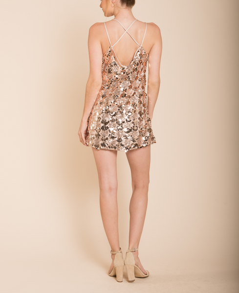 set the tone sequin disc mini dress - rose gold - shophearts - 6