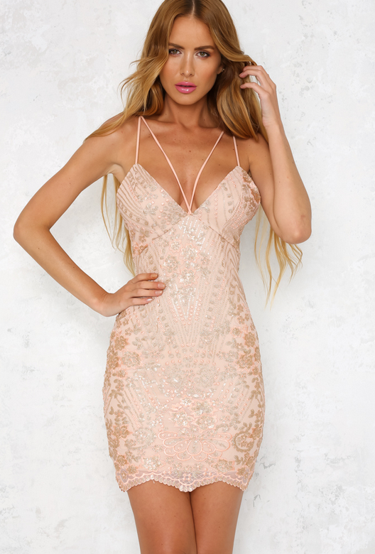 shine bright like a diamond bodycon dress - embellished rose gold - shophearts - 2