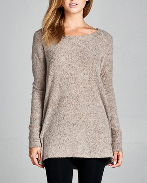 Final Sale - Button Back Long Sleeve French Terry Tunic Top - Mocha
