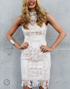 Lioness - Loves Divine Midi Lace Overlay Midi Dress - White - shophearts - 1