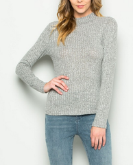 ribbed mock neck long sleeve shirt - heather grey - shophearts - 3