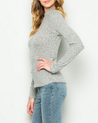 ribbed mock neck long sleeve shirt - heather grey - shophearts - 4