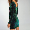 motel - DELUXE Gabby Sequin Plunge Back Dress in Iridescent Green - shophearts - 3