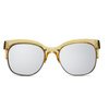 quay - bronx half-rimmed sunglasses - coffee with silver mirror lens - shophearts - 1