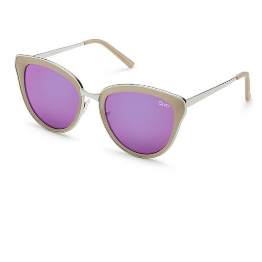 quay - every little thing cat eye sunnies - silver/pink - shophearts - 1