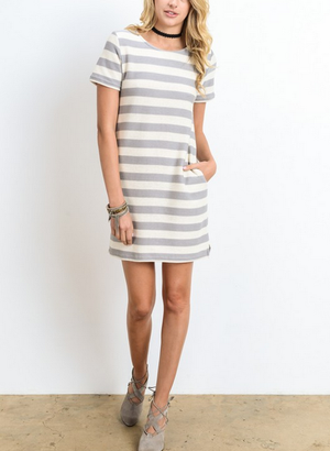 striped french terry tee shirt dress - shophearts - 4