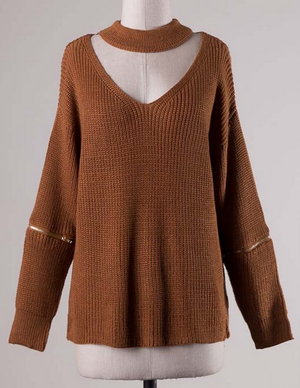 material girl choker sweater - camel - shophearts - 2