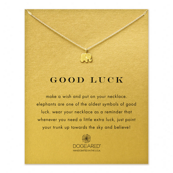 "dogeared 'reminder good luck elephant necklace', 16"" gold dipped - shophearts"