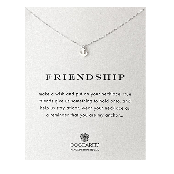 dogeared 'reminder friendship smooth anchor' dainty necklace in sterling silver - shophearts