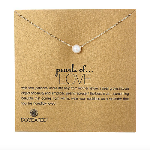 dogeared pearls of love white pearl necklace, gold dipped - shophearts