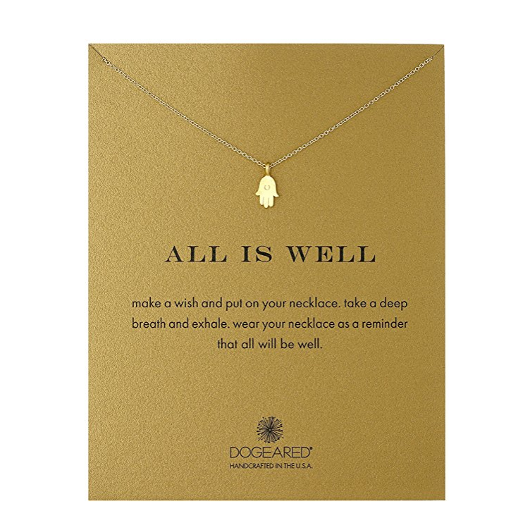 dogeared all is well hamsa necklace, gold dipped - shophearts