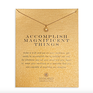 dogeared accomplish magnificent things starburst necklace, gold dipped - shophearts