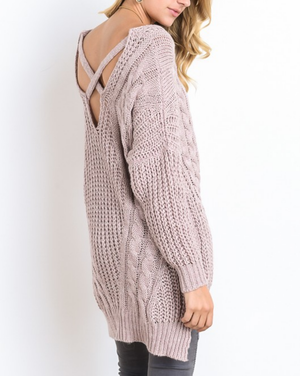 oversize cross back knit sweater - marle mauve - shophearts - 3