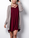 Long sleeve low gauge open knit wishlist cardigan sweater with pockets MOCHA