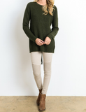 long sleeve lace up back sweater - olive - shophearts - 3