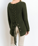 long sleeve lace up back sweater - olive - shophearts - 4