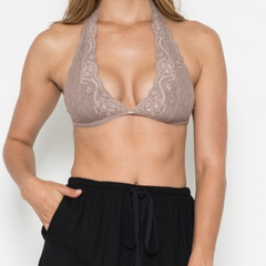 intimate lace halter t-strap bralette (8 colors)