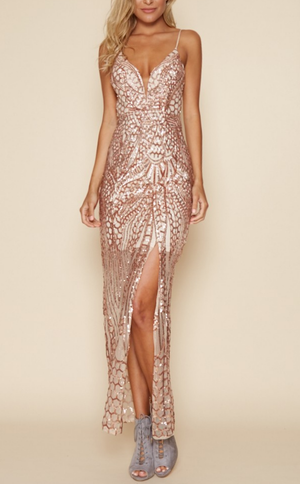 Final Sale - Rose Gold Sequin Maxi Dress with Slit