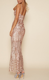 Rose Gold Sequin Maxi Dress with Slit