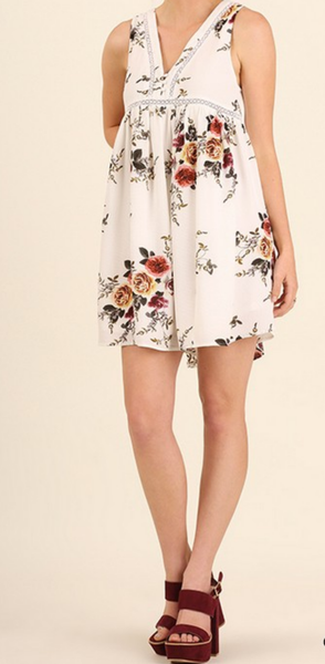 off white floral sleeveless dress