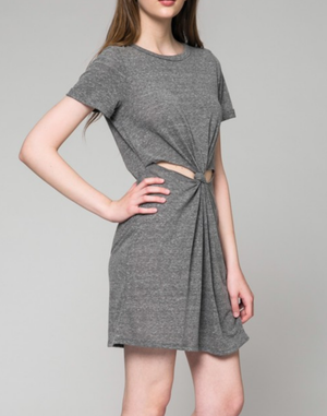 Honey Punch - Knot It Front Knot T-Shirt Dress in More Colors