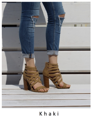 strappy stacked heel sandals - khaki