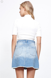 minkpink x disney's beauty and the beast - true beauty denim skirt - vintage blue