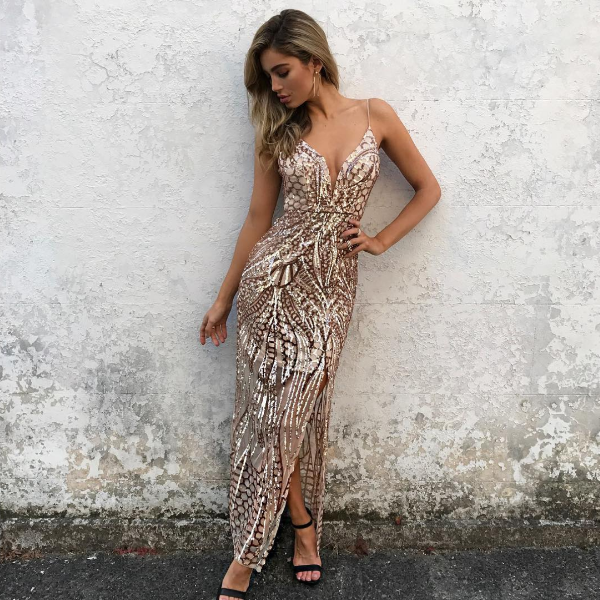 rose gold sequin maxi dress with slit – shophearts