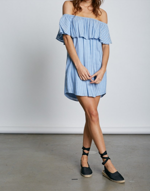 Cotton Candy LA - Frilled About You Off The Shoulder Striped Dress in More Colors