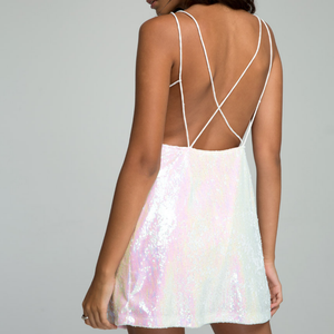 motel rocks - strappy open back pearl shimmer gigi slip dress - ringgo pearl sequin