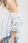 Final Sale - Blu Pepper - Off-The-Shoulder Striped Top - Ivory/Blue