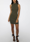 knit tonight lace-up back body con dress - khaki
