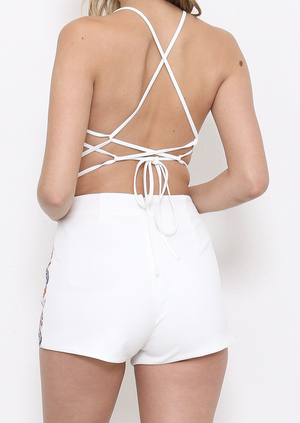 another day in paradise white embroidered two-piece set