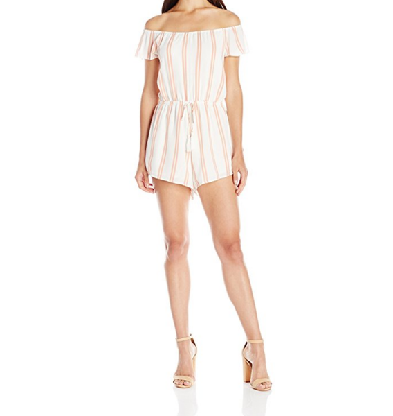 reverse - striped off-the-shoulder romper
