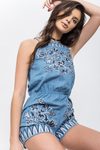 blu pepper - chambray embroidered romper