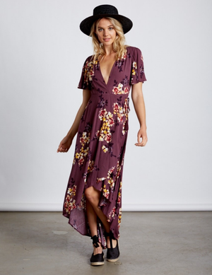 laura high-low wrap dress - floral/orchid