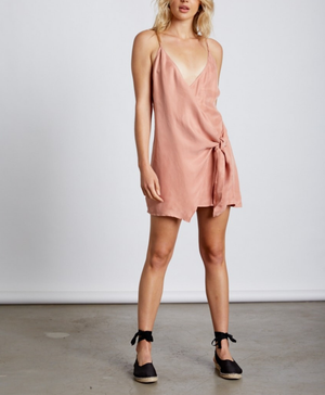 Final Sale - Cotton Candy LA Breathe Wrap Dress - Dusty Peach