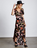 laura high-low wrap dress - floral/black
