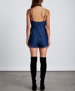 dark denim romper