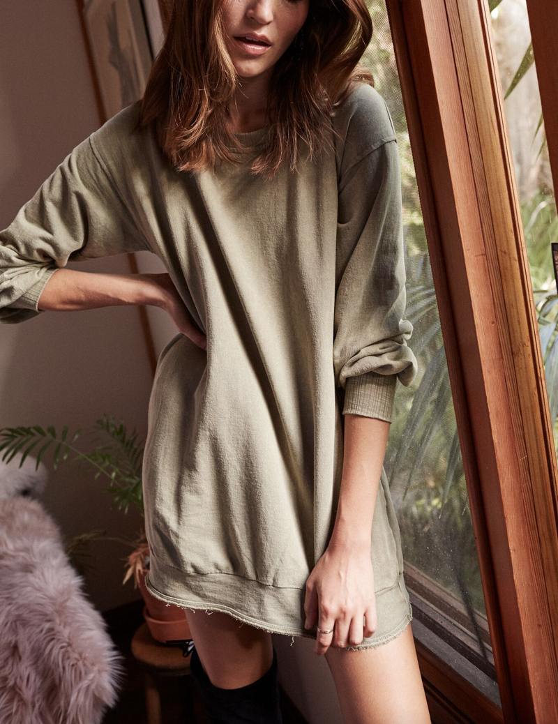Final Sale - Somedays Lovin - Mountains Fade Sweat Tunic in Sage