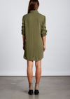 low key front knot dress - olive
