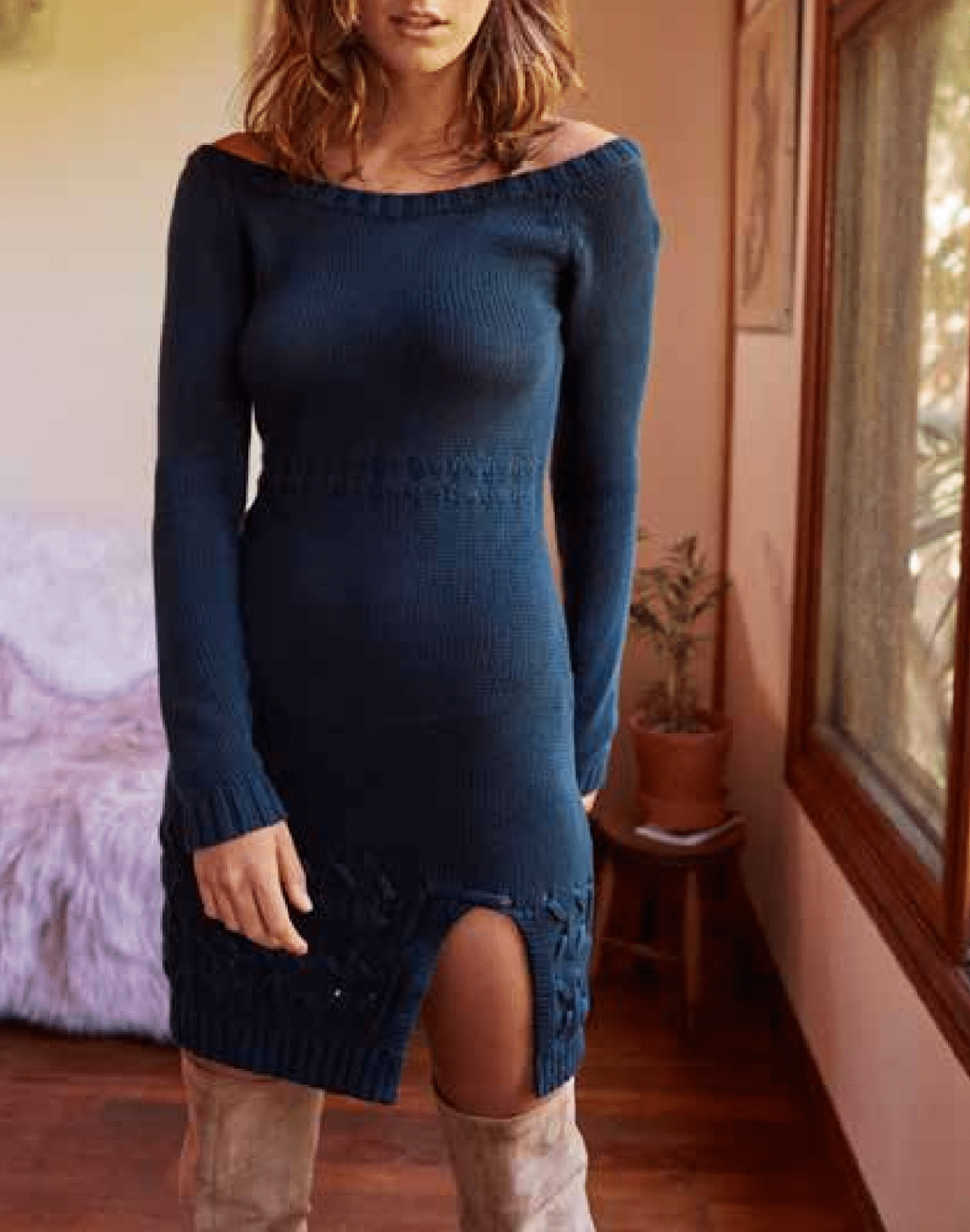 Final Sale - Somedays Lovin - Falling Free Knit Off The Shoulder Dress in Peacock
