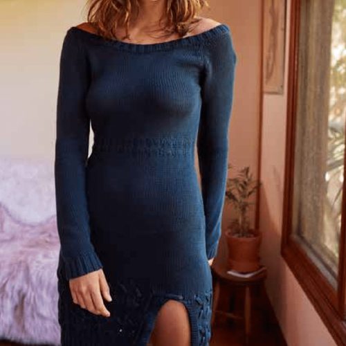 someday's lovin - falling free knit off the shoulder dress - peacock
