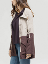 lightweight linen color block jacket - khaki/cacao