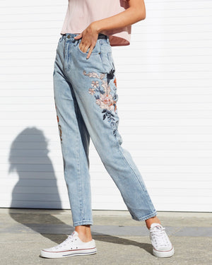 minkpink - wild flower scando jeans - dusty blue