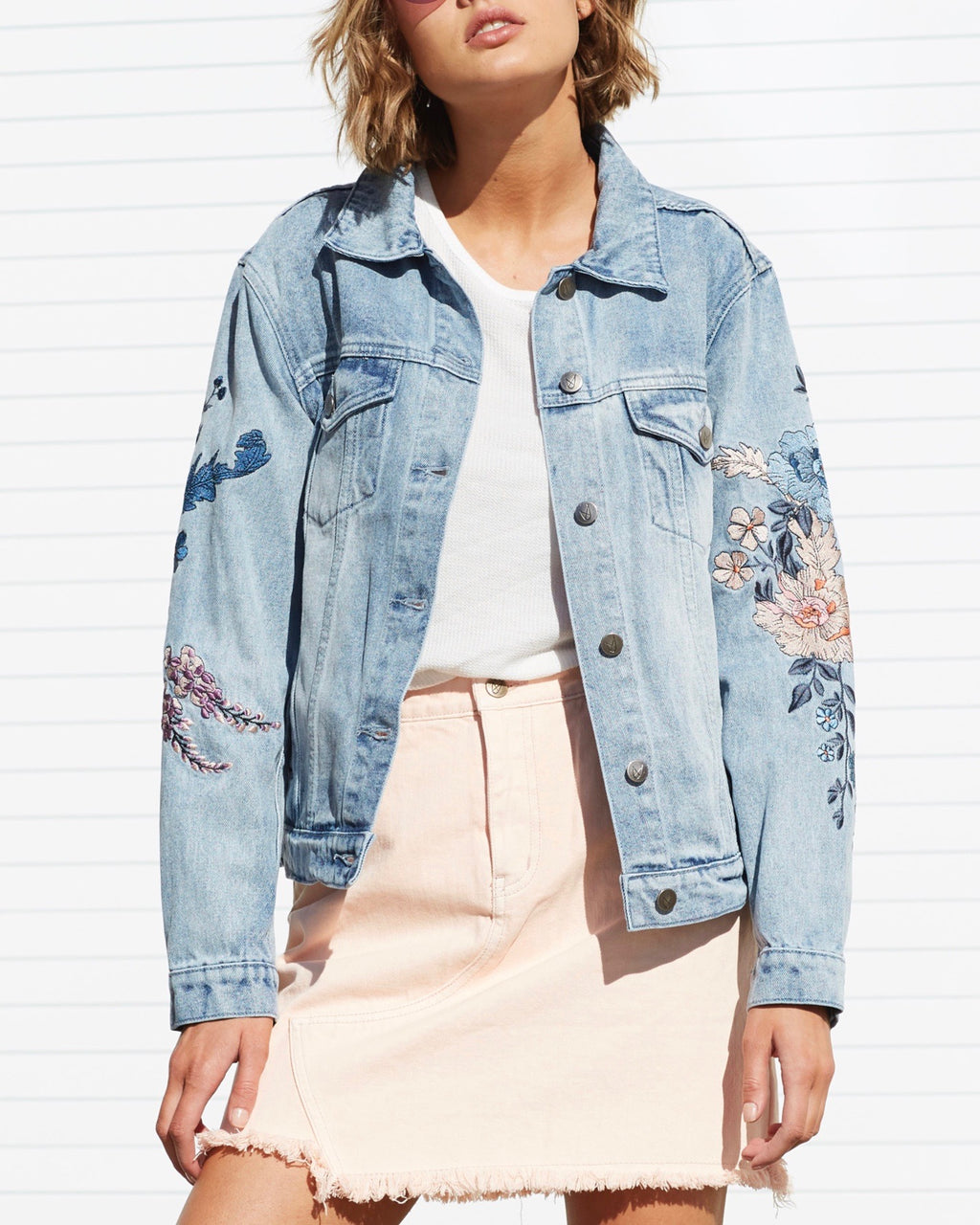 Final Sale - MINKPINK - Wild Flower Denim Jacket in Dusty Blue