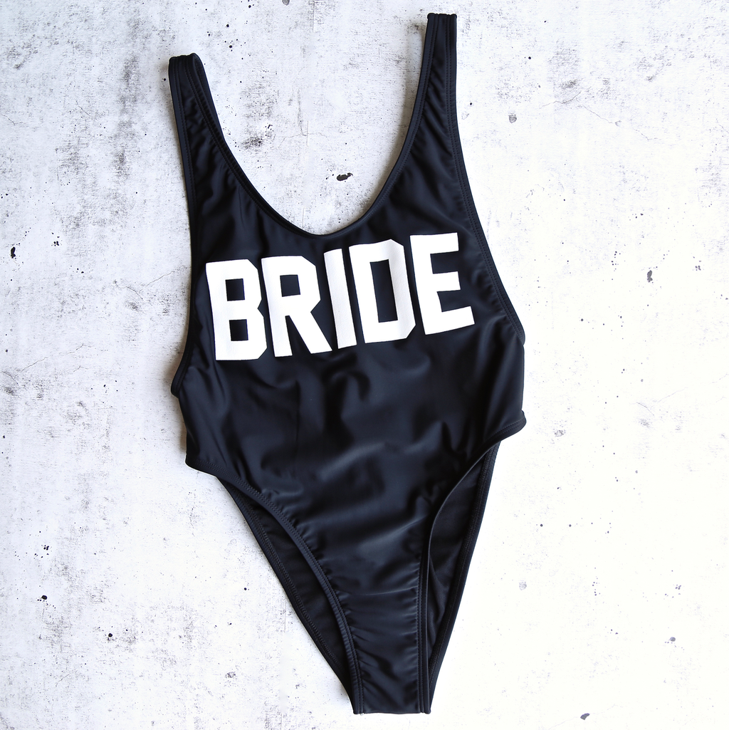 grl gng collection - bride high cut vintage one piece - black
